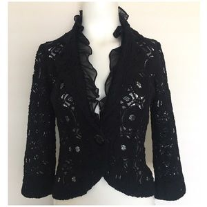 Tabitha Posy Blazer Black Lace Jacket Ruffle Trim
